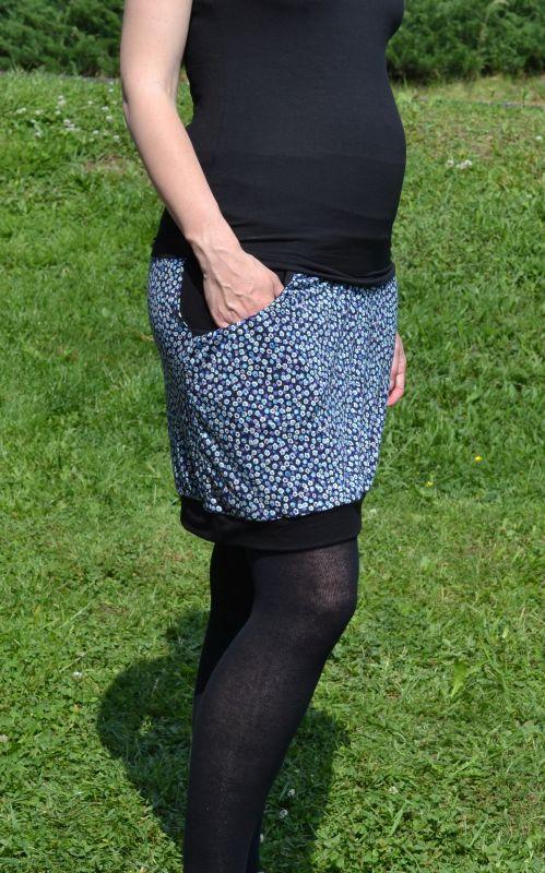 cc9d04169b4 Těhotenská sukně - modré květy