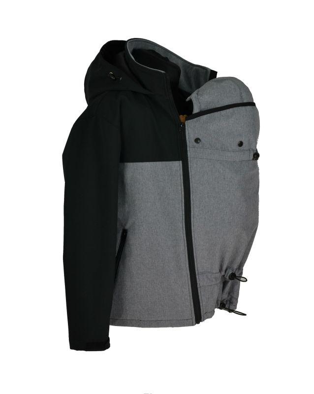 0b0fafa70 Pánská softshellová nosící bunda, jarní/podzimní - šedo/černá ...